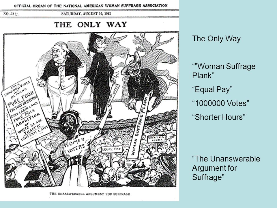 "The Only Way """"Woman Suffrage Plank"" ""Equal Pay"" ""1000000 Votes"" ""Shorter Hours"" ""The Unanswerable Argument for Suffrage"""