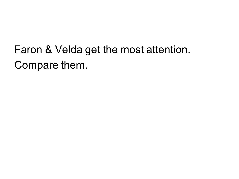Faron & Velda get the most attention. Compare them.