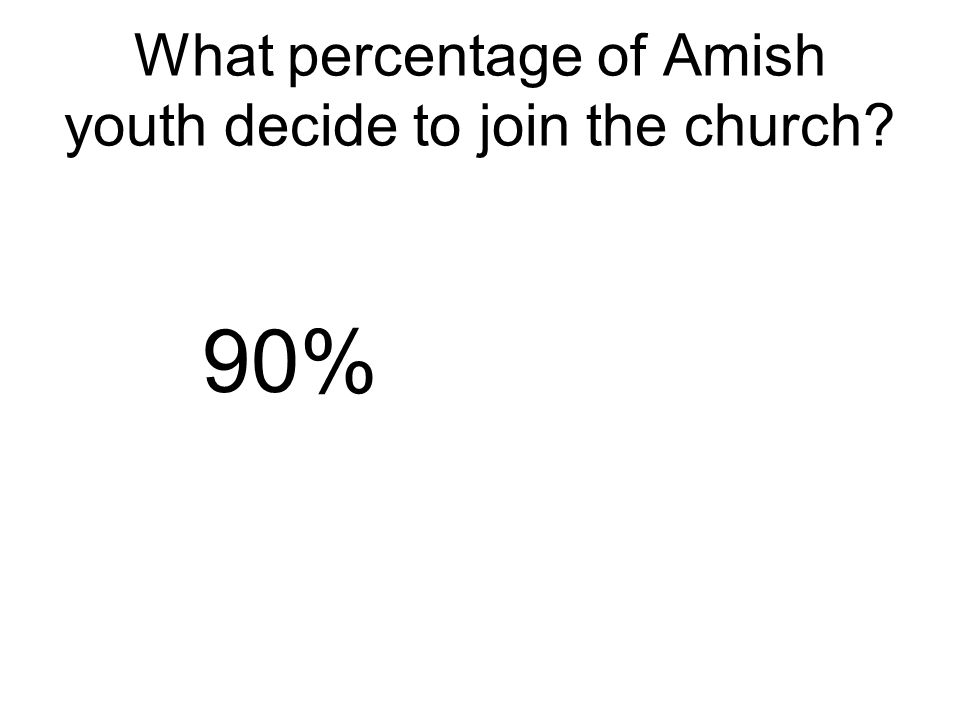 What percentage of Amish youth decide to join the church 90%