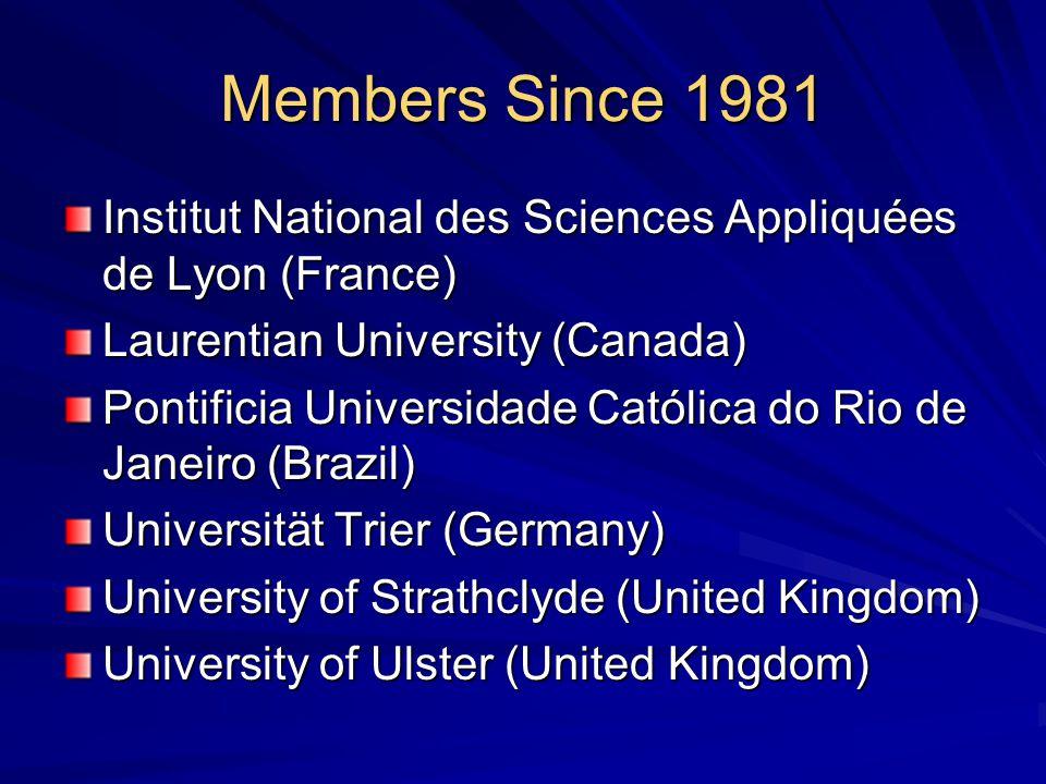 Members Since 1981 Institut National des Sciences Appliquées de Lyon (France) Laurentian University (Canada) Pontificia Universidade Católica do Rio de Janeiro (Brazil) Universität Trier (Germany) University of Strathclyde (United Kingdom) University of Ulster (United Kingdom)