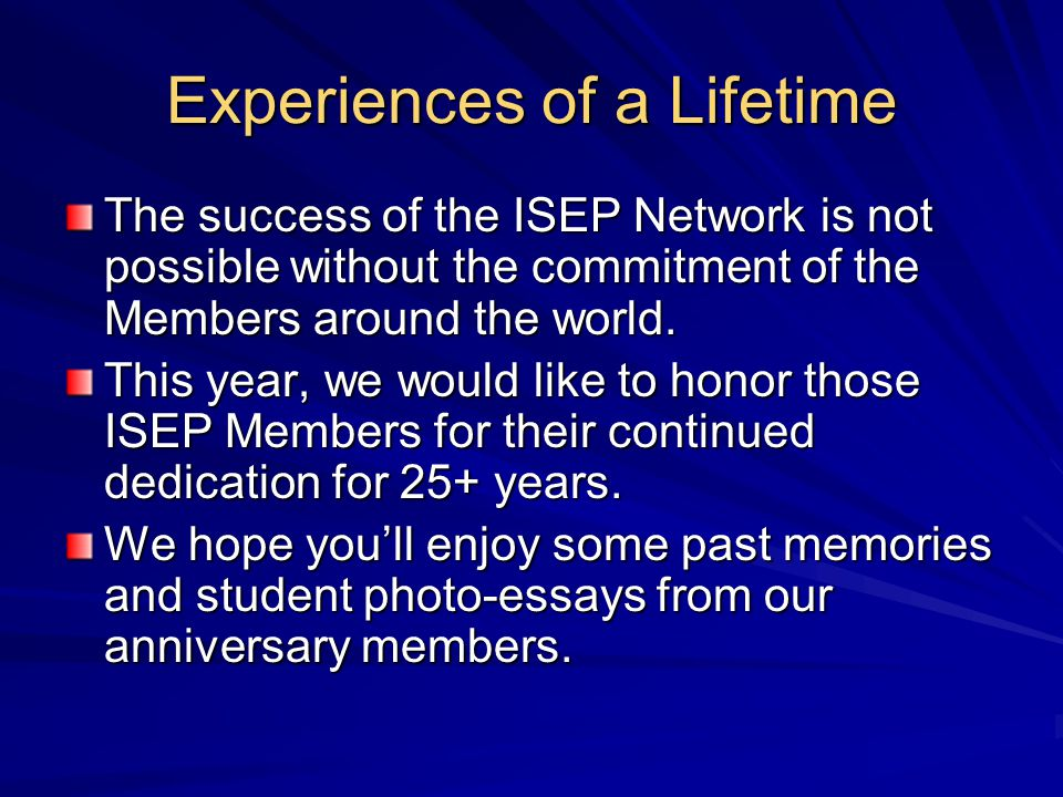 Experiences of a Lifetime James Park, 2001-02 Yonsei University Anna Hamburger, 2000-01 U Mississippi Barbara Gurtner, 2000-01 Western Washington University Amy Sullivan, 2000-01 University of Tampere
