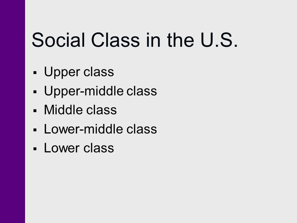 Social Class in the U.S.  Upper class  Upper-middle class  Middle class  Lower-middle class  Lower class