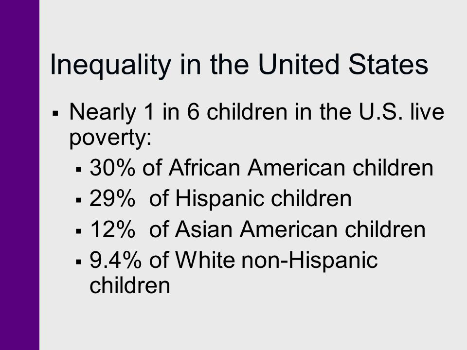 Inequality in the United States  Nearly 1 in 6 children in the U.S. live poverty:  30% of African American children  29% of Hispanic children  12%