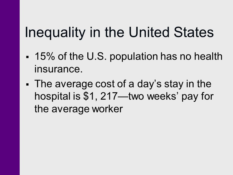 Inequality in the United States  15% of the U.S. population has no health insurance.  The average cost of a day's stay in the hospital is $1, 217—tw