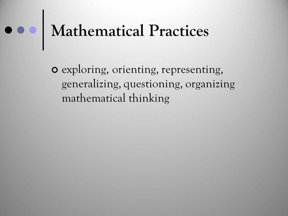 Mathematical Practices exploring, orienting, representing, generalizing, questioning, organizing mathematical thinking