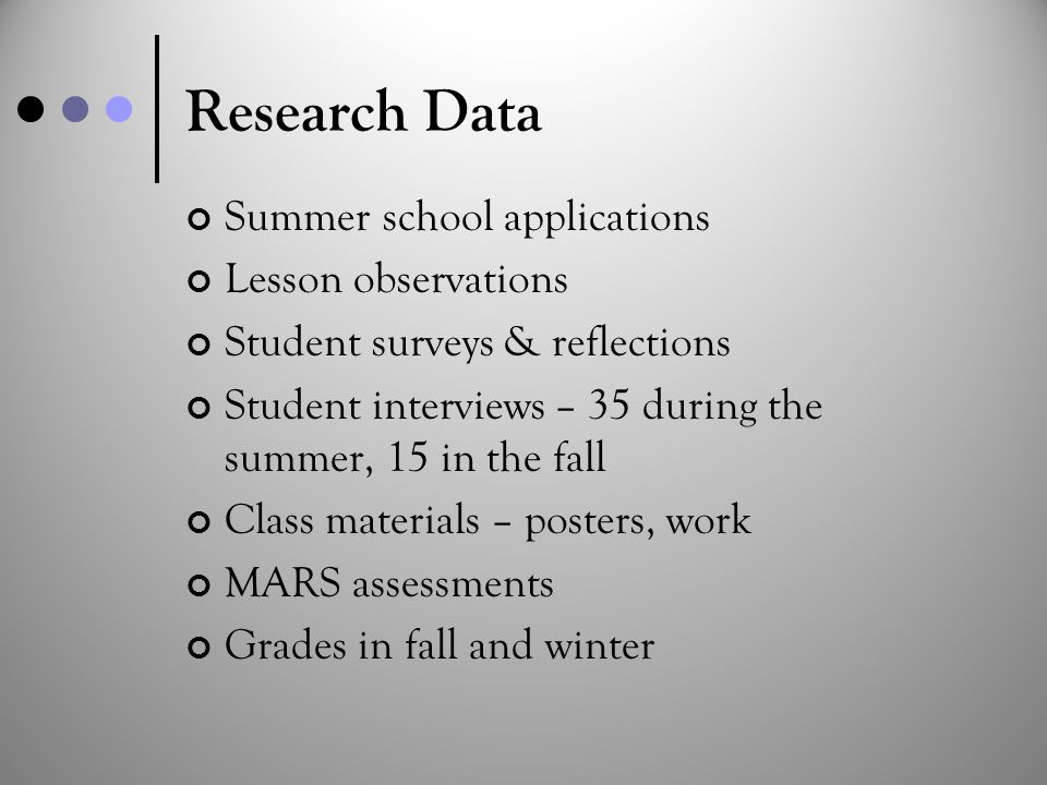 Research Data Summer school applications Lesson observations Student surveys & reflections Student interviews – 35 during the summer, 15 in the fall C