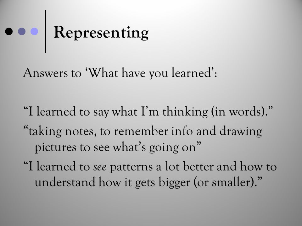 "Representing Answers to 'What have you learned': ""I learned to say what I'm thinking (in words)."" ""taking notes, to remember info and drawing pictures"