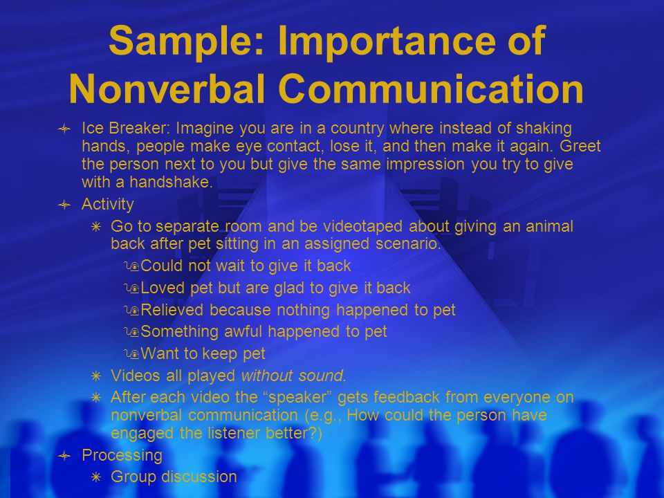 Sample: Importance of Nonverbal Communication Ice Breaker: Imagine you are in a country where instead of shaking hands, people make eye contact, lose it, and then make it again.
