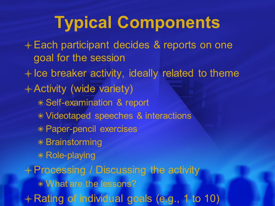 Typical Components Each participant decides & reports on one goal for the session Ice breaker activity, ideally related to theme Activity (wide variety)  Self-examination & report  Videotaped speeches & interactions  Paper-pencil exercises  Brainstorming  Role-playing Processing / Discussing the activity  What are the lessons.