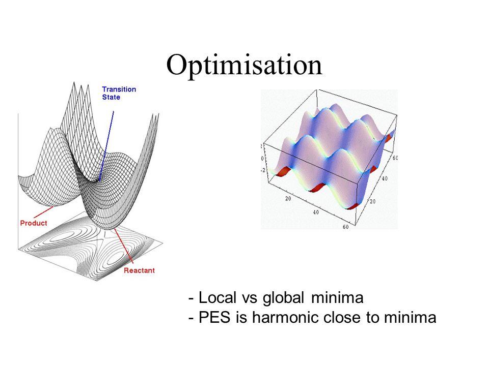Optimisation - Local vs global minima - PES is harmonic close to minima