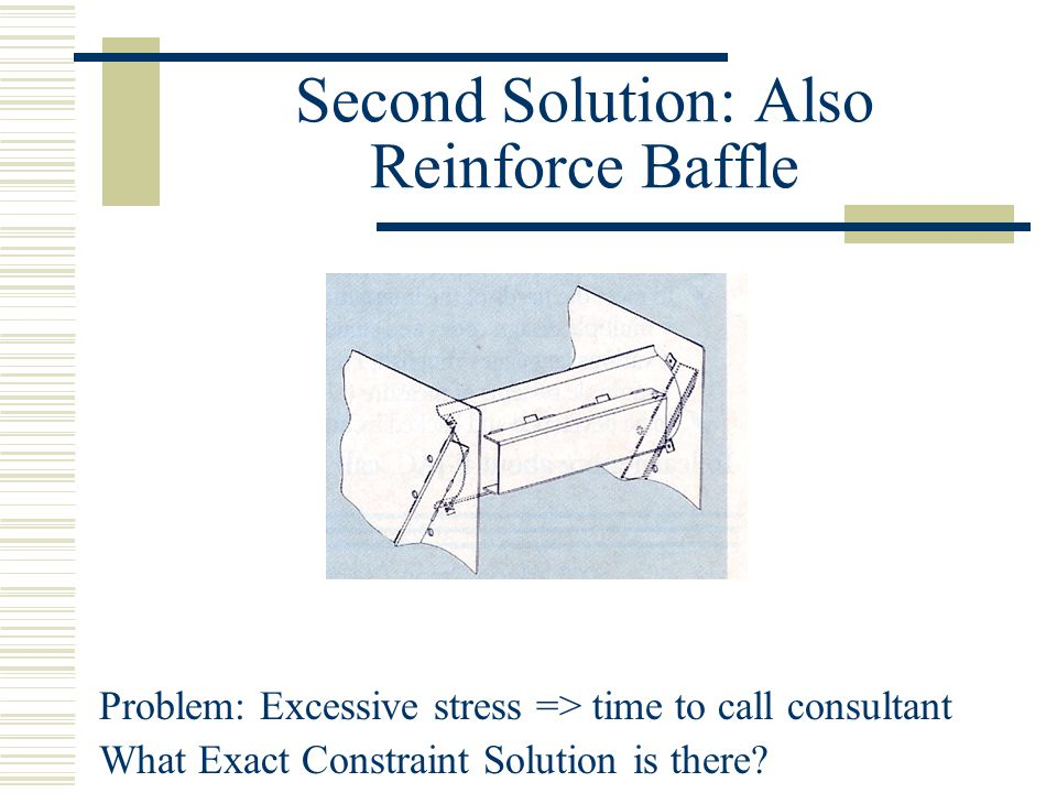 Second Solution: Also Reinforce Baffle Problem: Excessive stress => time to call consultant What Exact Constraint Solution is there?