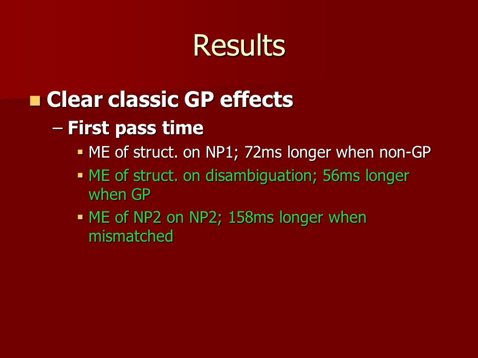 Results Clear classic GP effects Clear classic GP effects –First pass time  ME of struct.