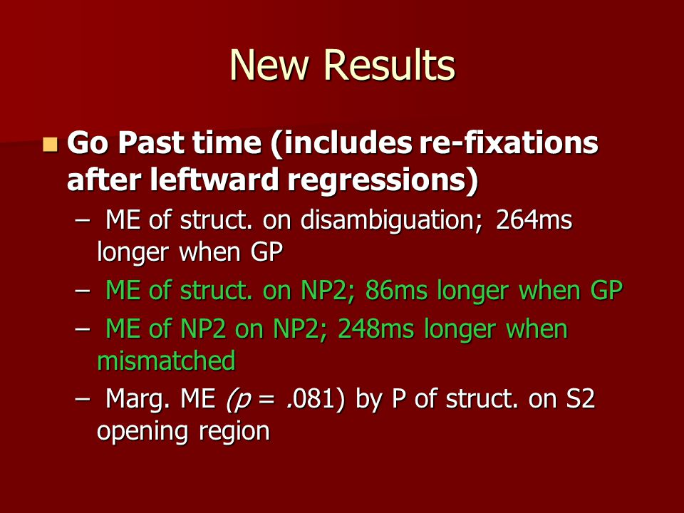 New Results Go Past time (includes re-fixations after leftward regressions) Go Past time (includes re-fixations after leftward regressions) – ME of struct.