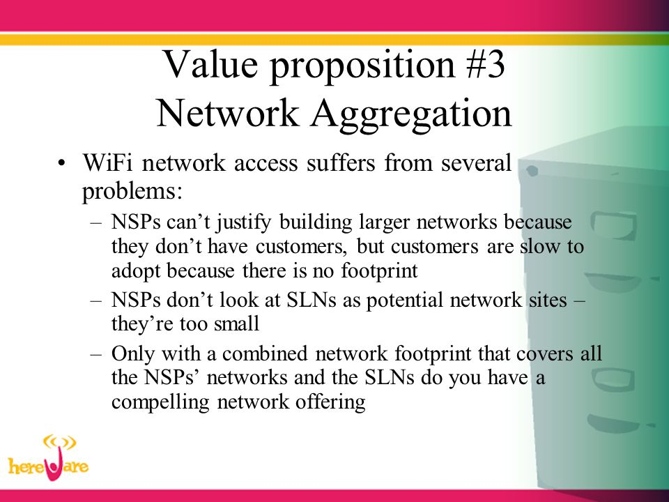 Value proposition #3 Network Aggregation WiFi network access suffers from several problems: –NSPs can't justify building larger networks because they
