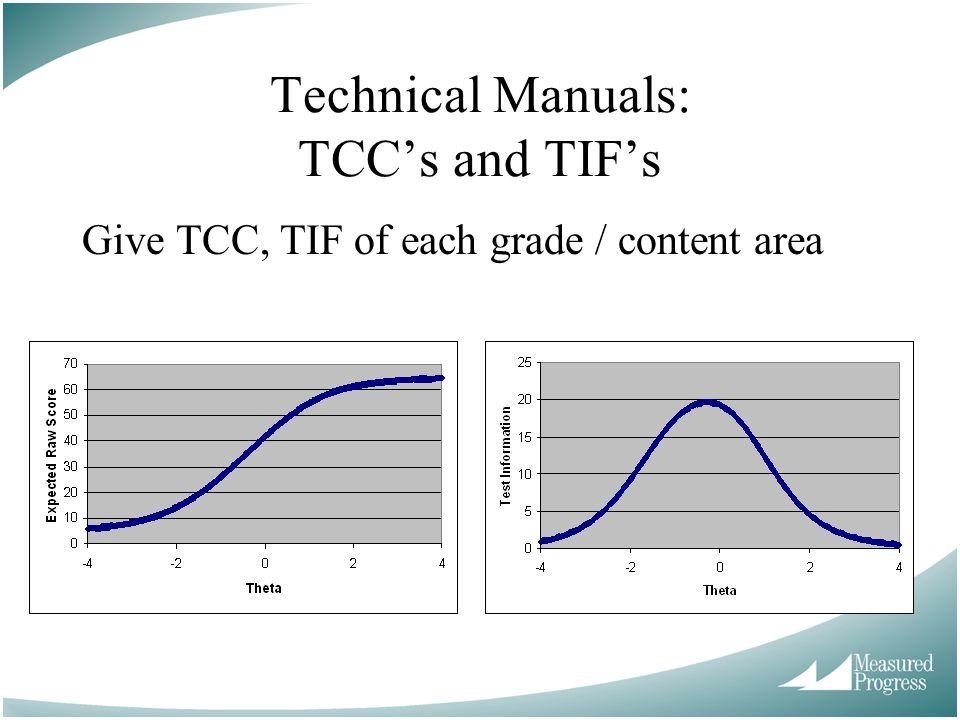 Technical Manuals: TCC's and TIF's Give TCC, TIF of each grade / content area