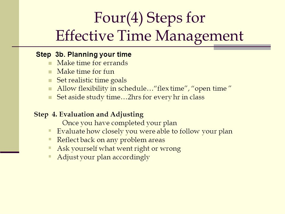 Four(4) Steps for Effective Time Management Step 3b.