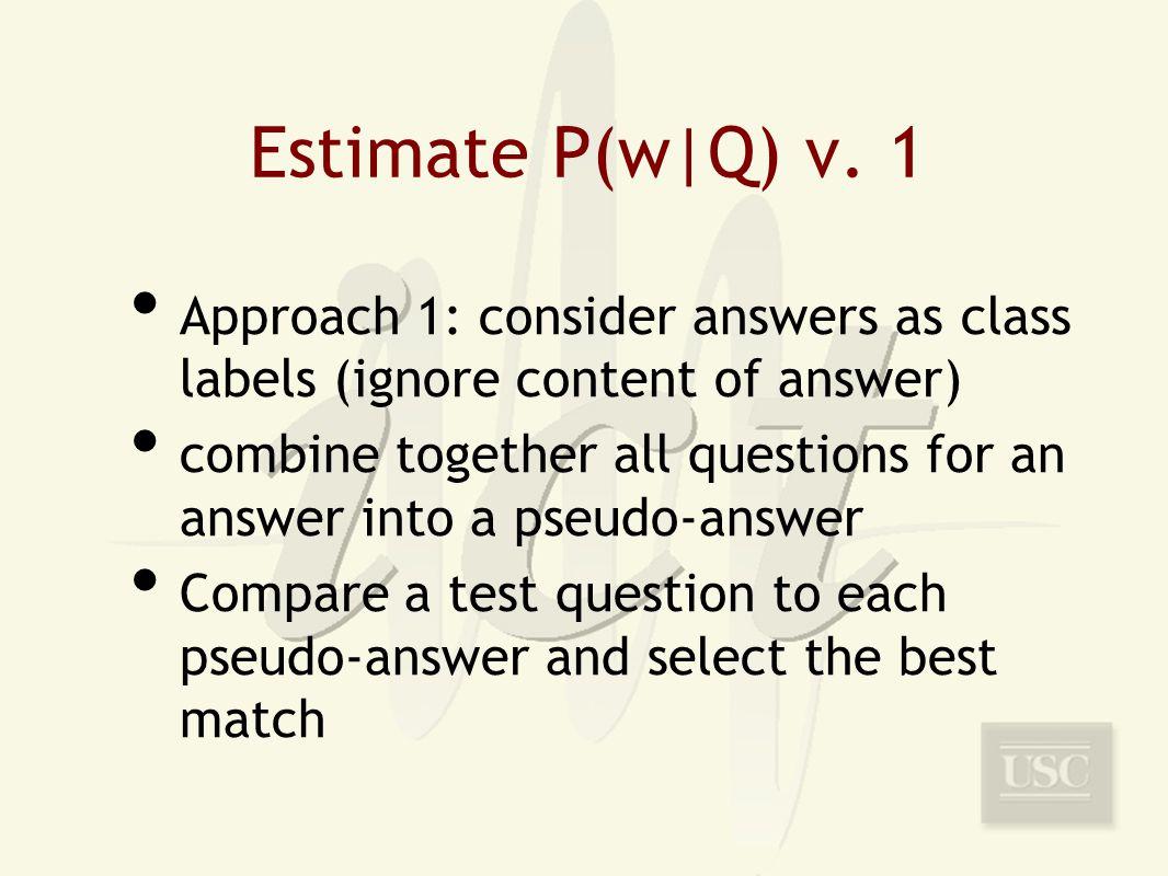 Estimate P(w|Q) v.