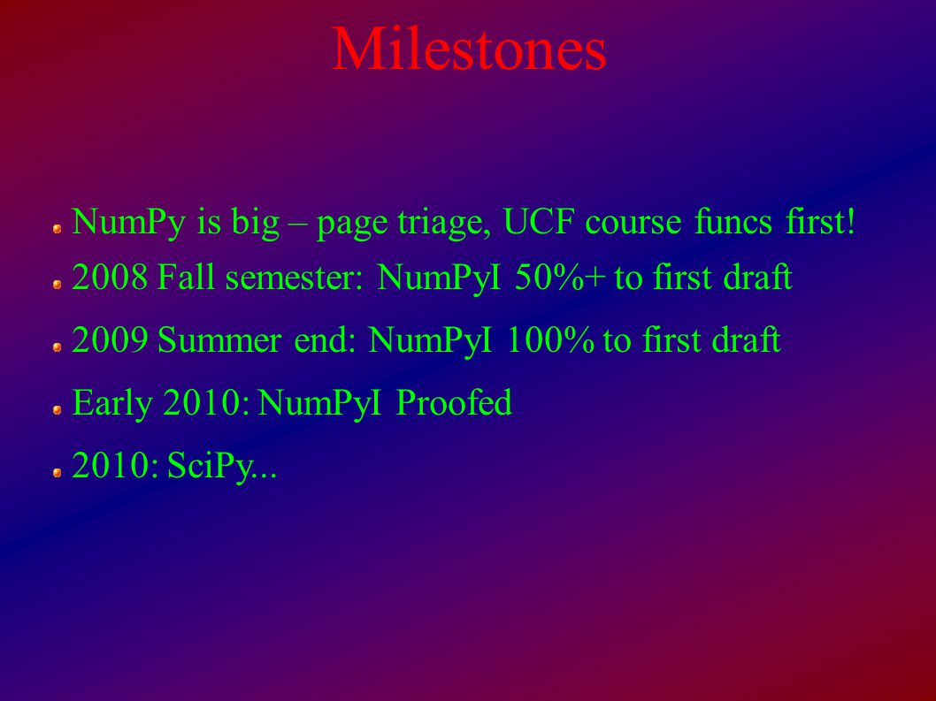 Milestones NumPy is big – page triage, UCF course funcs first.