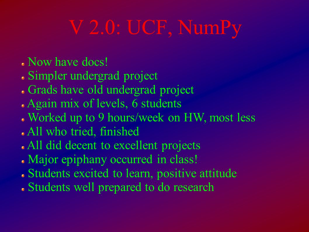V 2.0: UCF, NumPy Now have docs.