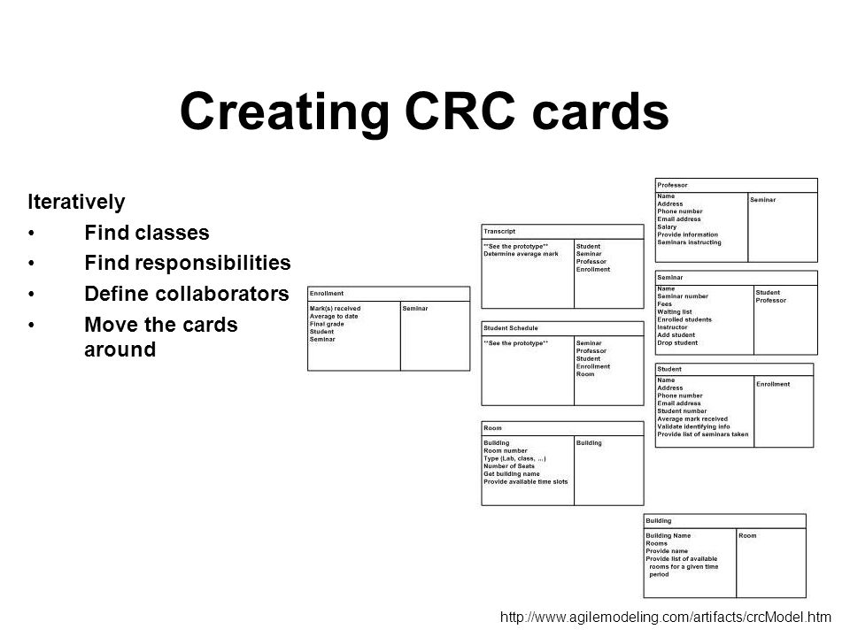 Creating CRC cards Iteratively Find classes Find responsibilities Define collaborators Move the cards around http://www.agilemodeling.com/artifacts/crcModel.htm