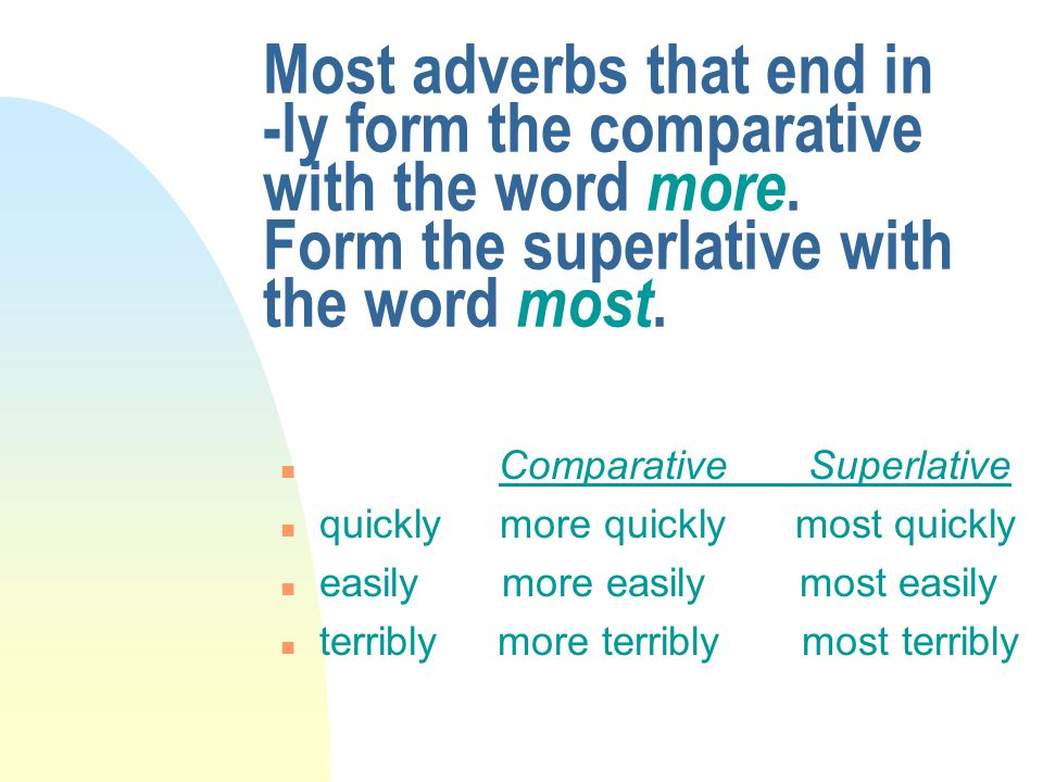 Most adverbs that end in -ly form the comparative with the word more. Form the superlative with the word most. n Comparative Superlative n quickly mor