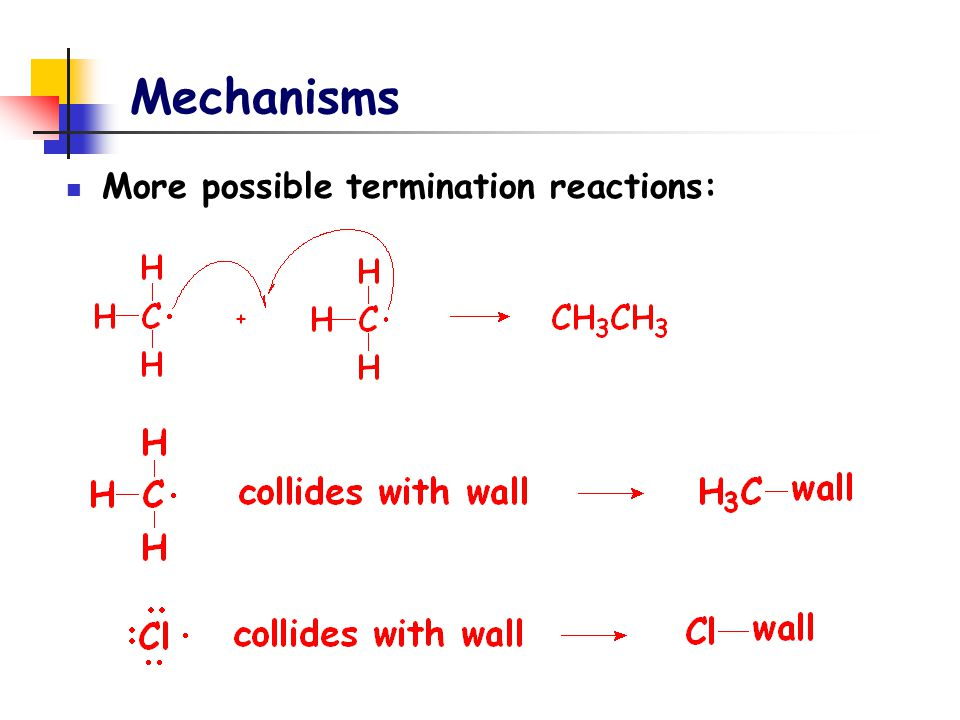 Mechanisms More possible termination reactions: