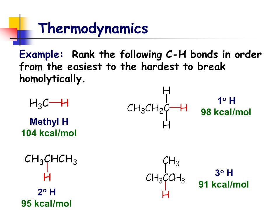 Thermodynamics Example: Rank the following C-H bonds in order from the easiest to the hardest to break homolytically. Methyl H 104 kcal/mol 1 o H 98 k
