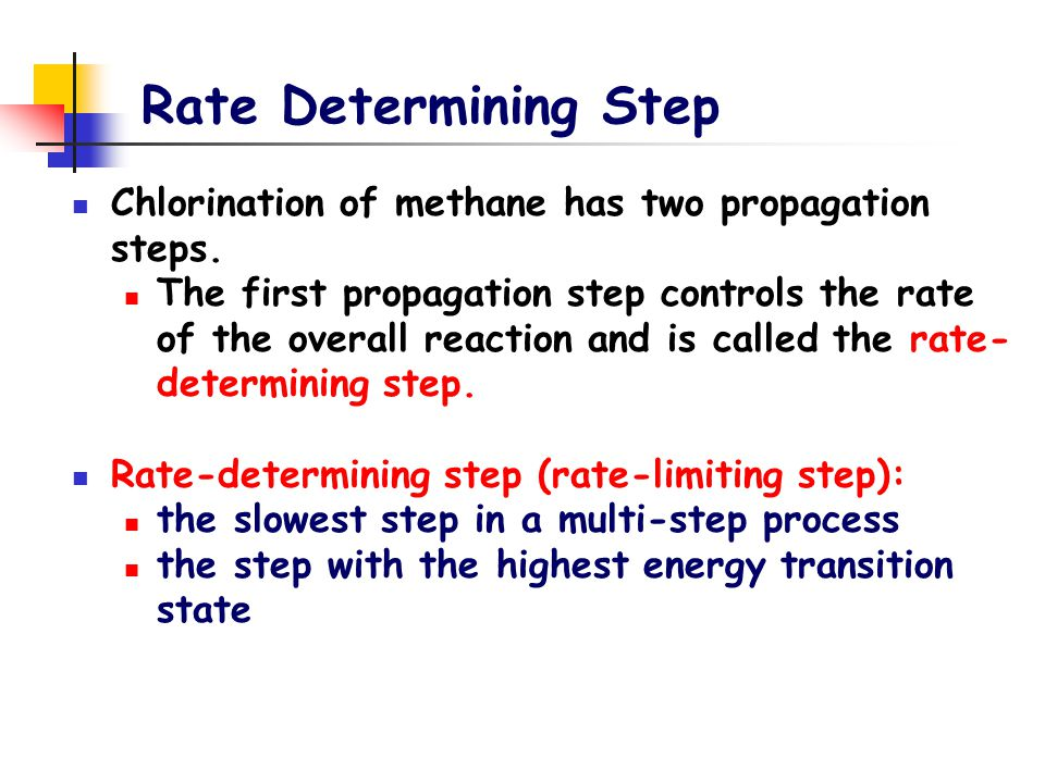 Rate Determining Step Chlorination of methane has two propagation steps. The first propagation step controls the rate of the overall reaction and is c