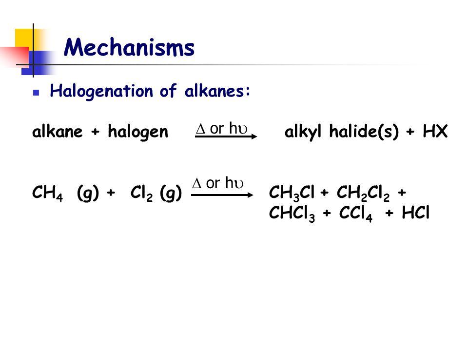 Mechanisms Halogenation of alkanes: alkane + halogen alkyl halide(s) + HX CH 4 (g) + Cl 2 (g) CH 3 Cl + CH 2 Cl 2 + CHCl 3 + CCl 4 + HCl  or h 