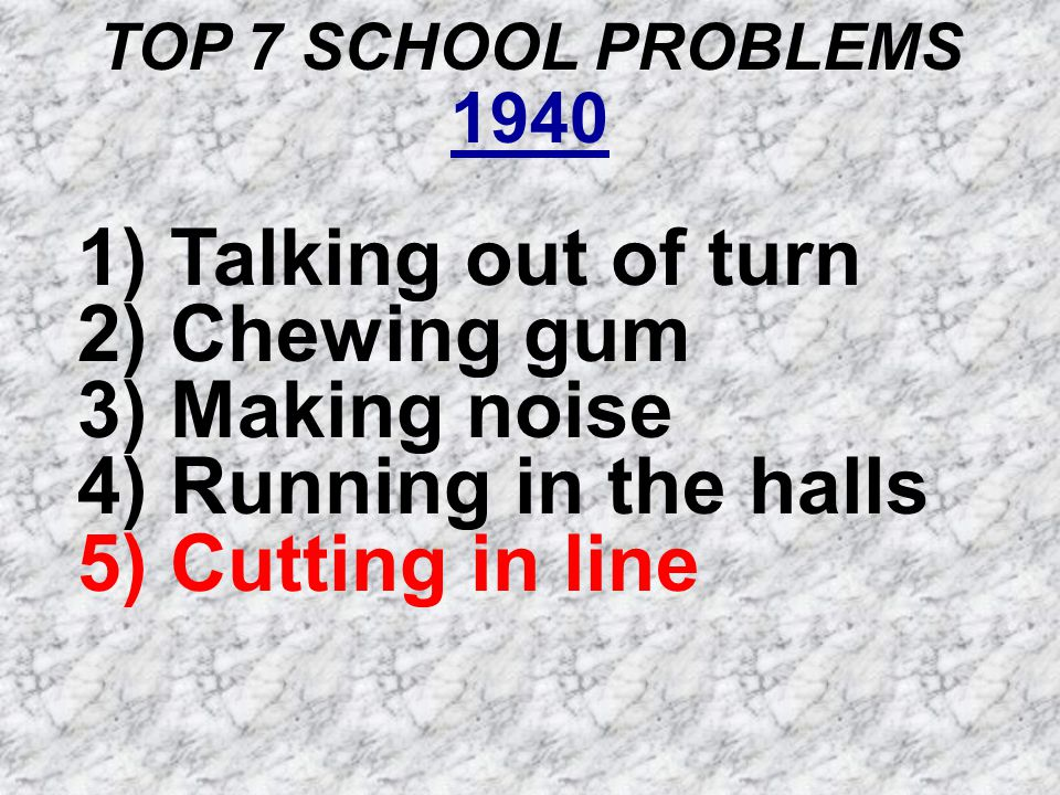 TOP 7 SCHOOL PROBLEMS 1940 1) Talking out of turn 2) Chewing gum 3) Making noise 4) Running in the halls 5) Cutting in line