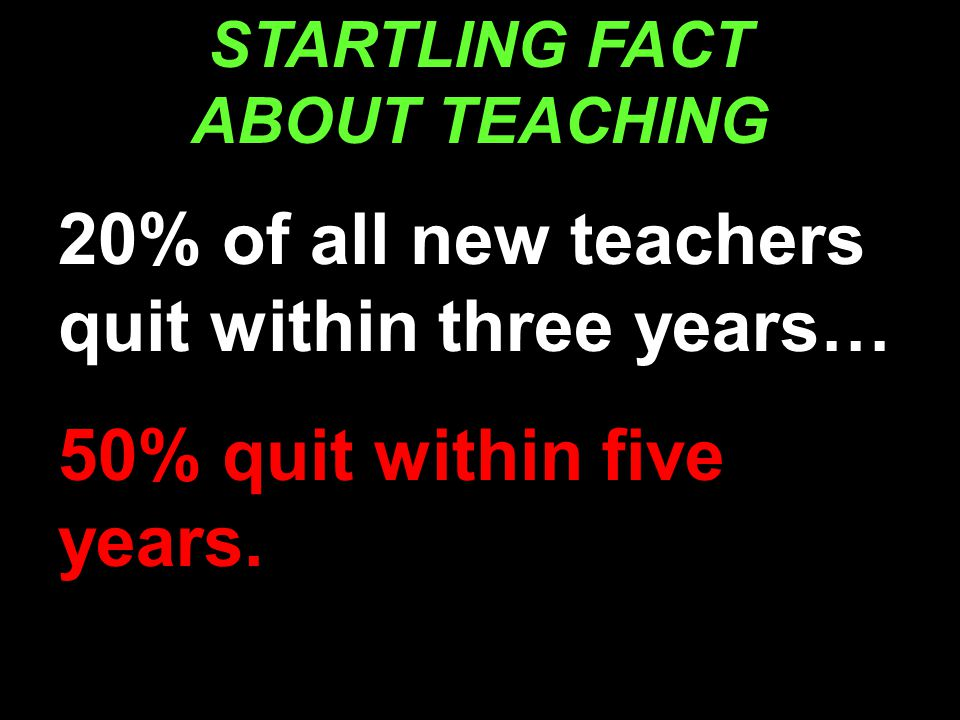 STARTLING FACT ABOUT TEACHING 20% of all new teachers quit within three years… 50% quit within five years.