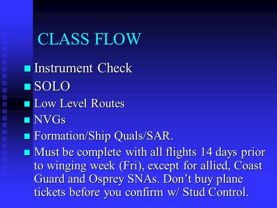 CLASS FLOW Instrument Check Instrument Check SOLO SOLO Low Level Routes Low Level Routes NVGs NVGs Formation/Ship Quals/SAR.