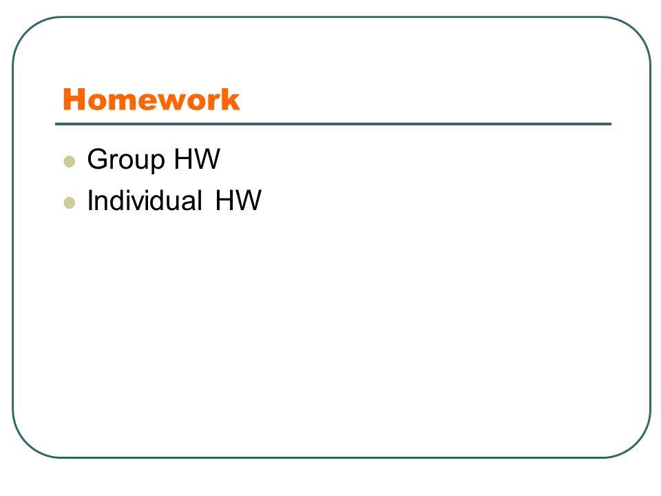 Homework Group HW Individual HW