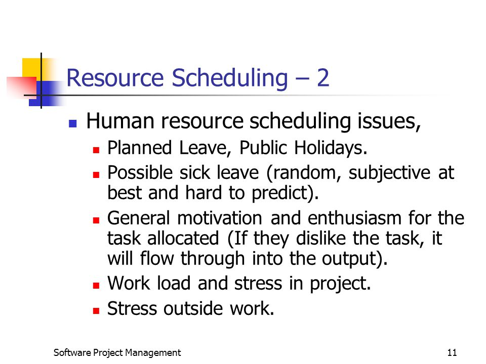 Software Project Management11 Resource Scheduling – 2 Human resource scheduling issues, Planned Leave, Public Holidays.