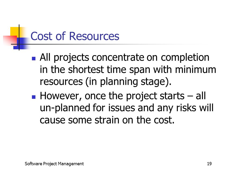 Software Project Management19 Cost of Resources All projects concentrate on completion in the shortest time span with minimum resources (in planning stage).