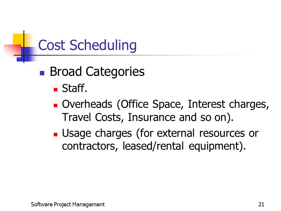 Software Project Management21 Cost Scheduling Broad Categories Staff.