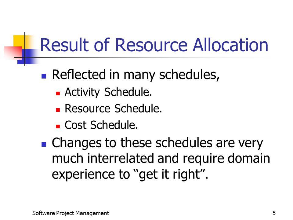 Software Project Management5 Result of Resource Allocation Reflected in many schedules, Activity Schedule.