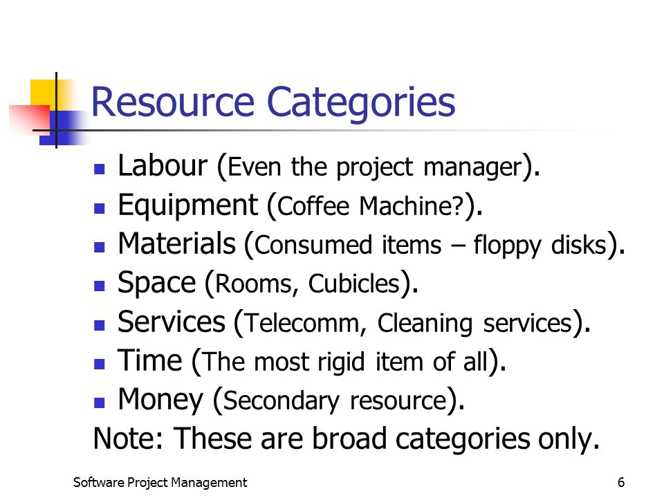 Software Project Management6 Resource Categories Labour ( Even the project manager ).