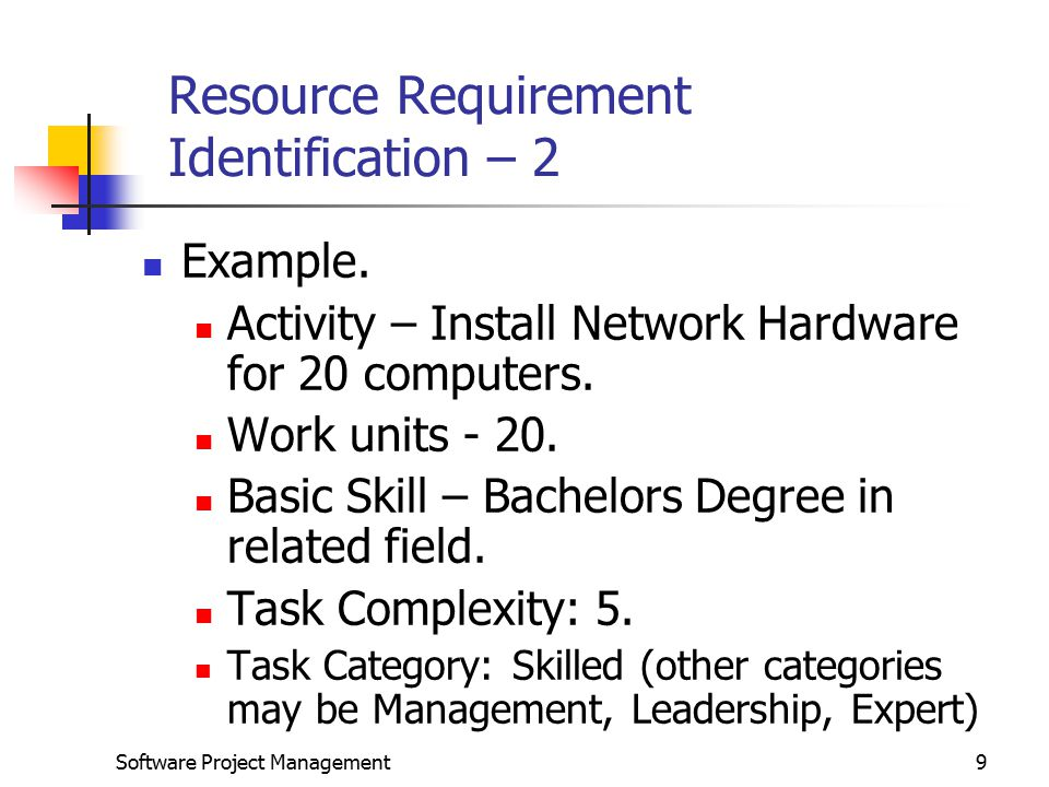 Software Project Management9 Resource Requirement Identification – 2 Example.