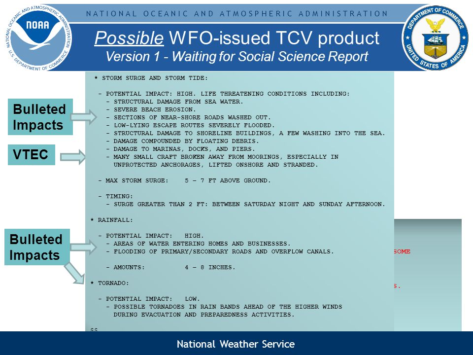 N A T I O N A L O C E A N I C A N D A T M O S P H E R I C A D M I N I S T R A T I O N Possible WFO-issued TCV product Version 1 - Waiting for Social Science Report WTUS82 KMFL DDHHMM TCVMFL URGENT - IMMEDIATE BROADCAST REQUESTED HURRICANE SUITER LOCAL WATCH/WARNING VTEC STATEMENT AL012009 NATIONAL WEATHER SERVICE MIAMI FL 1107 AM EDT FRI MAY 29 2009 FLZ173-292315- /O.CON.KMFL.HU.W.1001.000000T0000Z-000000T0000Z/ /O.CON.KMFL.SS.A.1001.000000T0000Z-000000T0000Z/ COASTAL MIAMI DADE- INCLUDING THE CITIES OF...MIAMI BEACH...DOWNTOWN MIAMI 1107 AM EDT FRI MAY 29 2009...HURRICANE WARNING IN EFFECT......STORM SURGE WATCH IN EFFECT......FLOOD AND/OR TORNADO WATCH HEADLINES WILL BE HERE TOO...