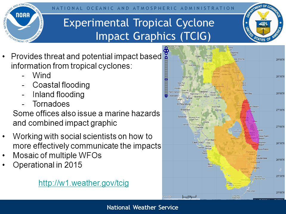 N A T I O N A L O C E A N I C A N D A T M O S P H E R I C A D M I N I S T R A T I O N Experimental Tropical Cyclone Impact Graphics (TCIG) Graphics Provides threat and potential impact based information from tropical cyclones: -Wind -Coastal flooding -Inland flooding -Tornadoes Some offices also issue a marine hazards and combined impact graphic Working with social scientists on how to more effectively communicate the impacts Mosaic of multiple WFOs Operational in 2015 http://w1.weather.gov/tcig National Weather Service