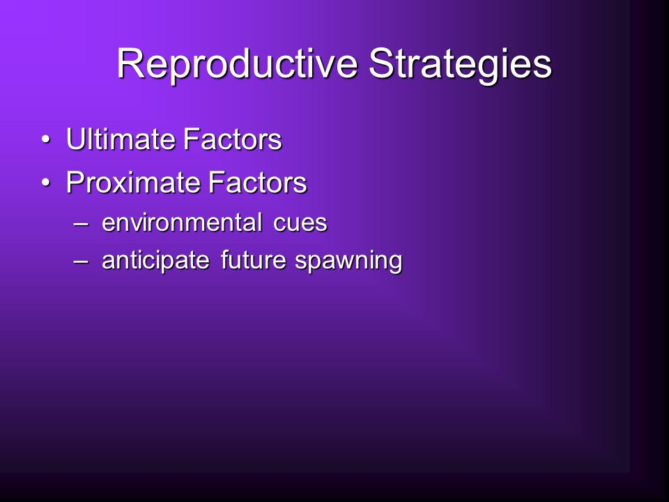 Reproductive Strategies Ultimate FactorsUltimate Factors Proximate FactorsProximate Factors – environmental cues – anticipate future spawning