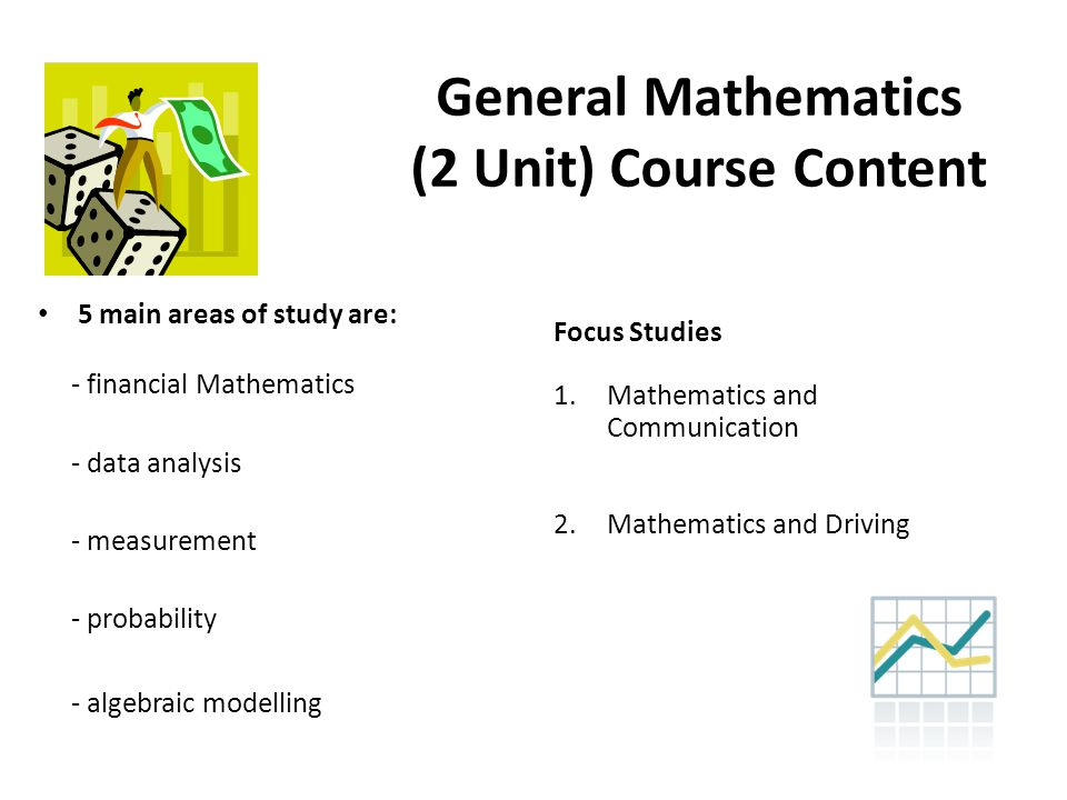 General Mathematics (2 Unit) Course Content 5 main areas of study are: - financial Mathematics - data analysis - measurement - probability - algebraic modelling Focus Studies 1.Mathematics and Communication 2.Mathematics and Driving