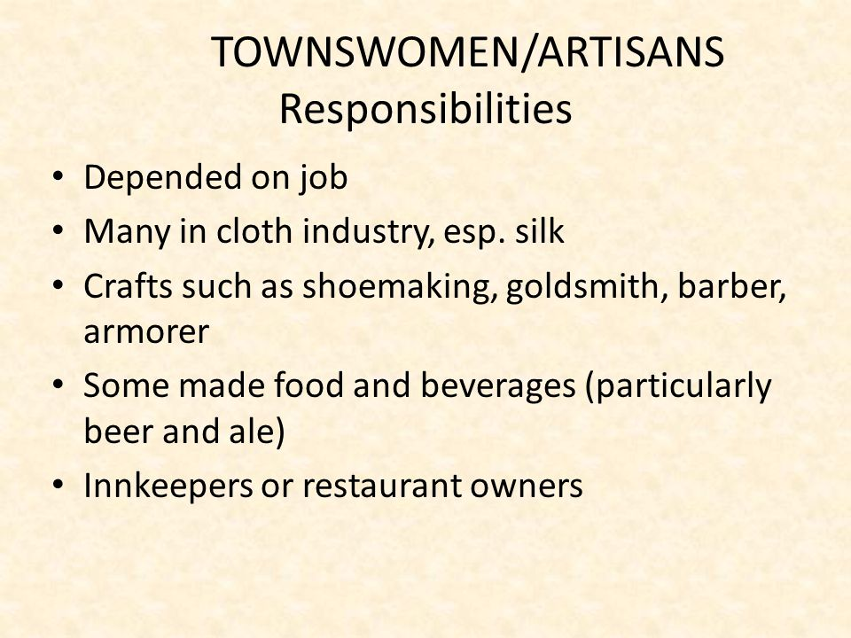 TOWNSWOMEN/ARTISANS Responsibilities Depended on job Many in cloth industry, esp.