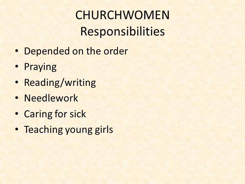 CHURCHWOMEN Responsibilities Depended on the order Praying Reading/writing Needlework Caring for sick Teaching young girls