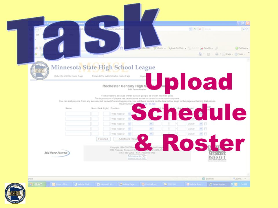 Upload Schedule & Roster