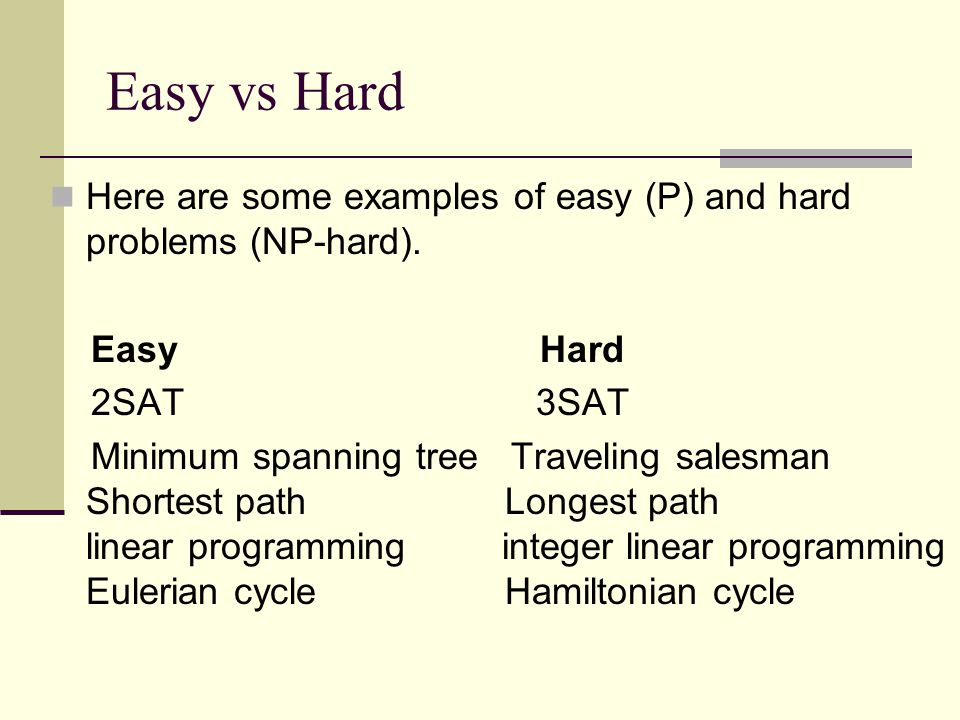 Easy vs Hard Here are some examples of easy (P) and hard problems (NP-hard).