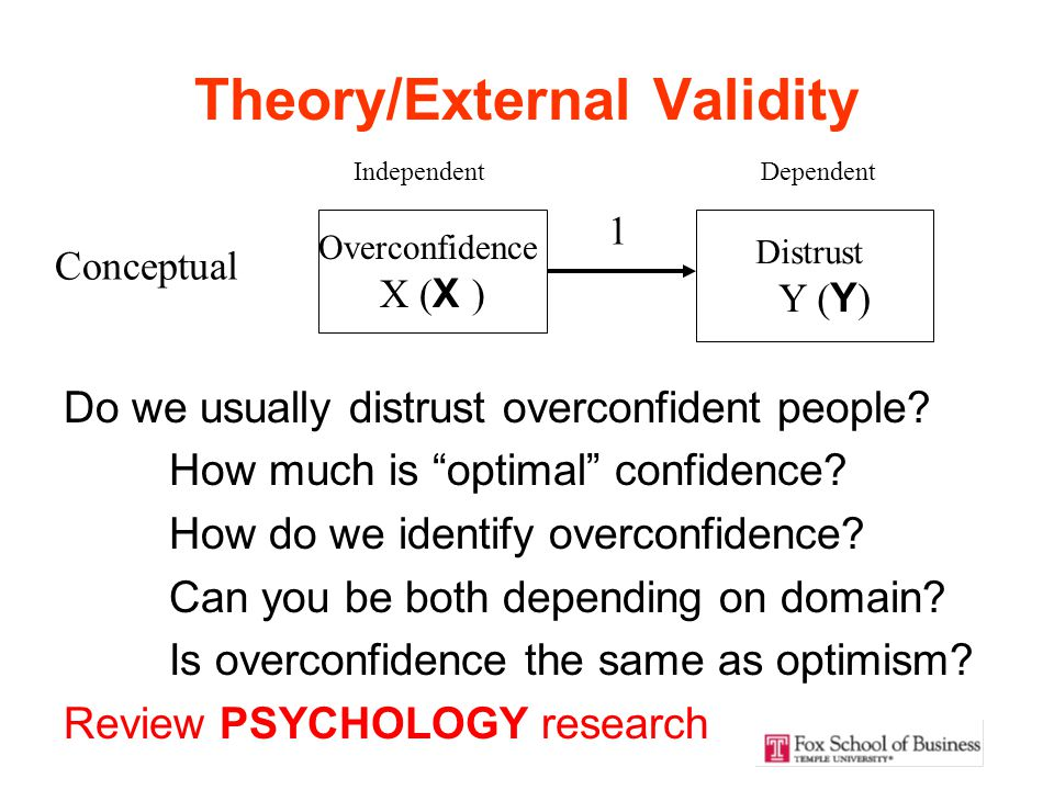 Theory/External Validity Do we usually distrust overconfident people.