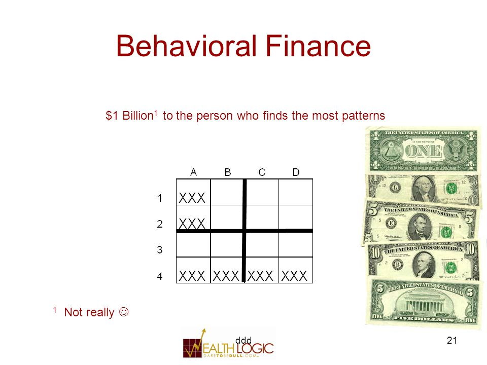 ddd21 Behavioral Finance $1 Billion 1 to the person who finds the most patterns 1 Not really