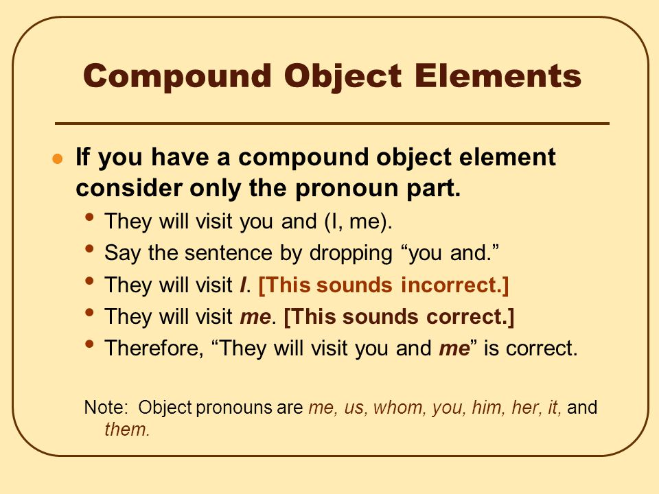 Compound Subject Elements If you have a compound subject element, consider only the pronoun part.